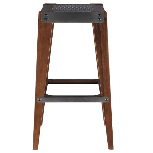 Novak KD Bar Stool, Metallic Gunmetal/ Walnut