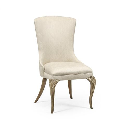 Rounded Rivoli Walnut Dining Side Chair, Upholstered in Skipper