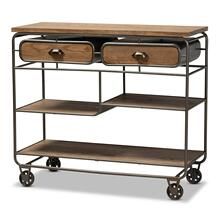 See Details - Baxton Studio Grant Vintage Rustic Industrial Oak Brown Finished Wood and Black Finished Metal 2-Drawer Kitchen Cart