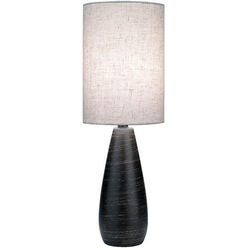 Mini Table Lamp, Brushed D.BRONZE/LINEN Shade, E27 Cfl 13w