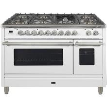 Professional Plus 48 Inch Dual Fuel Natural Gas Freestanding Range in White with Chrome Trim