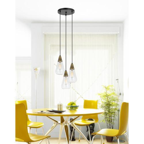 60W X 3 Ellyn Glass Pendant (Edison Bulbs Not included)
