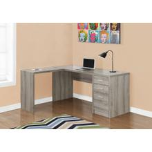 See Details - COMPUTER DESK - DARK TAUPE CORNER WITH TEMPERED GLASS