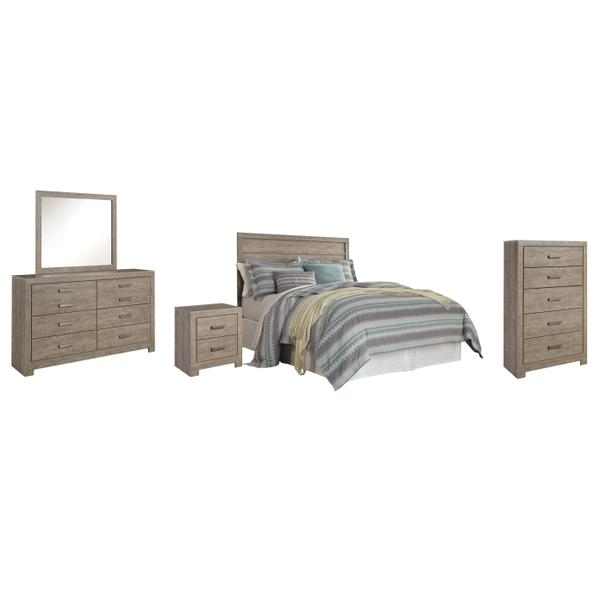 See Details - Queen/full Panel Headboard With Mirrored Dresser, Chest and Nightstand
