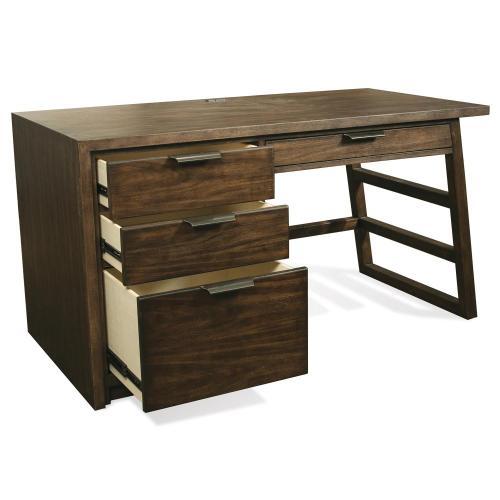 Riverside - Perspectives - Single Pedestal Desk - Brushed Acacia Finish