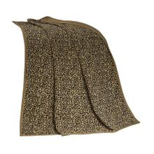 See Details - San Angelo Tan Leopard Chenille Throw Blanket, 50x60