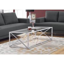 """COFFEE TABLE - 44""""L / CHROME METAL WITH TEMPERED GLASS"""