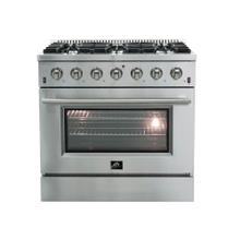 "36"" Galiano Gas Range FORNO ALTA QUALITA Pro-Style Gas 6 DEFENDI Italian Burner 83,000 BTU All Stainless Steel FFSGS6244-36"