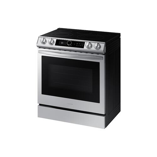Samsung - 6.3 cu ft. Smart Slide-in Electric Range with Smart Dial & Air Fry in Stainless Steel