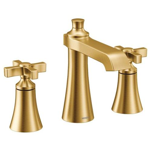 Flara brushed gold two-handle bathroom faucet