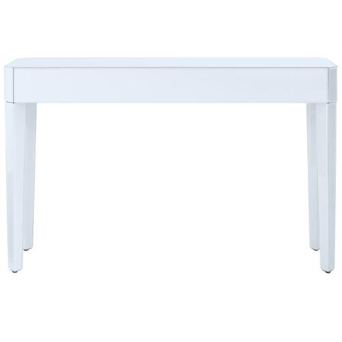 Reverse Painted White Glass Console