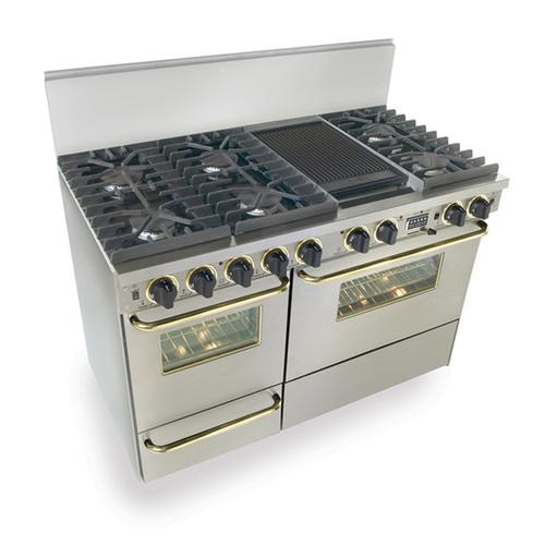 """Five Star - 48"""" Dual Fuel, Convect, Self Clean, Sealed Burners, Stainless Steel with Brass Trim"""
