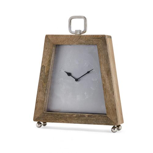 A & B Home - Wooden Taper Table Clock