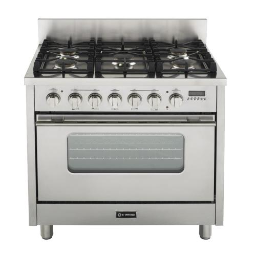"Gloss Red 36"" Dual Fuel Range with Convection Oven"