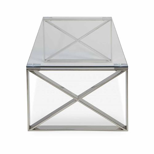 Grako Design - X Coffee Table Stainless Steel Frame Tempered Glass Top Modern Living Room Wholesale