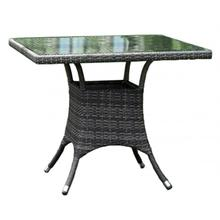 """See Details - Spectrum 36"""" Square Dining Table KD w/grey tempered glass"""