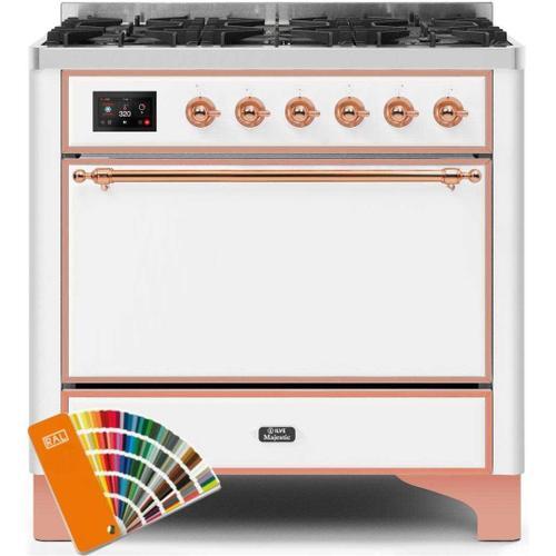 Gallery - Majestic II 36 Inch Dual Fuel Liquid Propane Freestanding Range in Custom RAL Color with Copper Trim