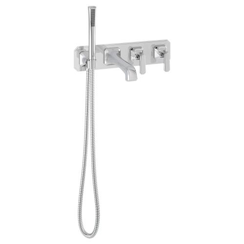 Dxv - Belshire Wall-Mount Tub Filler With Lever Handles - Polished Chrome