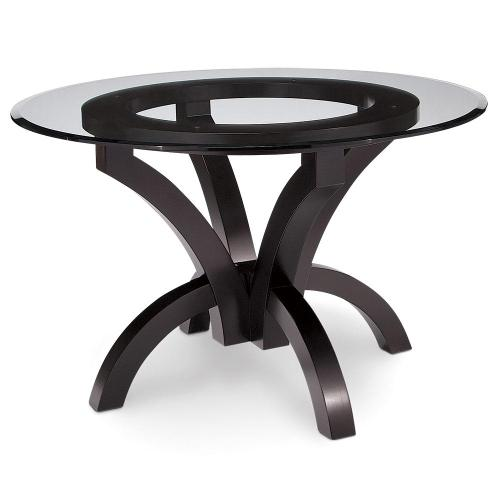 """Simply Amish - Adeline Single Pedestal Table with Glass Top, 60"""" Round"""