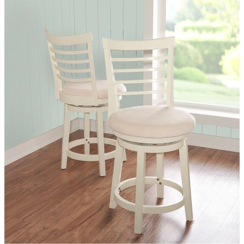Upholstered Seat and Swivel 360-degree Counter Stool, White