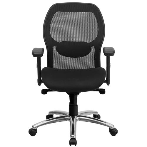 Flash Furniture - Mid-Back Black Super Mesh Executive Swivel Office Chair with Knee Tilt Control and Adjustable Lumbar & Arms