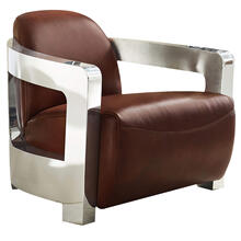 See Details - Milan Leather Aviator Armchair w/Chrome Arms - Brown
