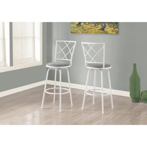 Gallery - BARSTOOL - 2PCS / SWIVEL / WHITE / GREY FABRIC SEAT