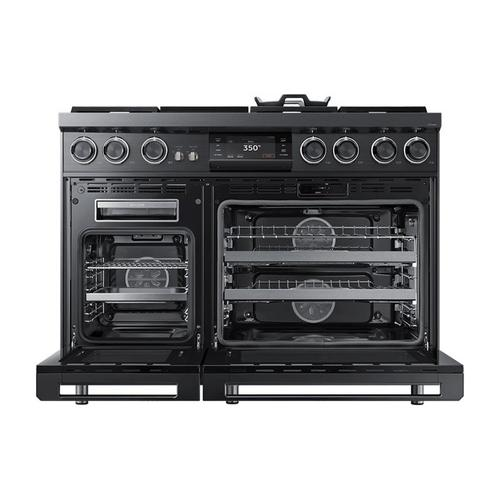 """48"""" Pro Dual-Fuel Steam Range, Graphite Stainless Steel, Natural Gas/High Altitude"""