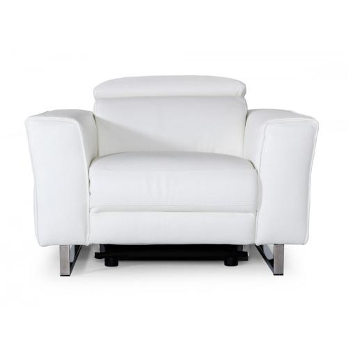 Accenti Italia Lucca - Italian Modern White Leather Armchair w/ Electric Recliner