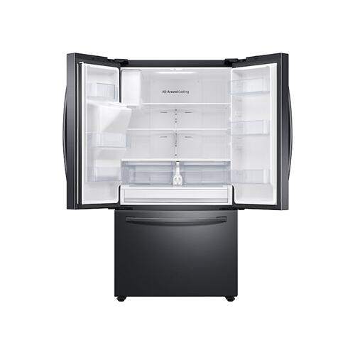 26.5 cu. ft. Large Capacity 3-Door French Door Refrigerator with Family Hub™ and External Water & Ice Dispenser in Black Stainless Steel