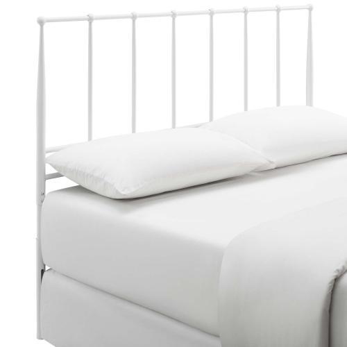 Kiana Queen Metal Stainless Steel Headboard in White