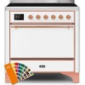 Majestic II 36 Inch Electric Freestanding Range in Custom RAL Color with Copper Trim