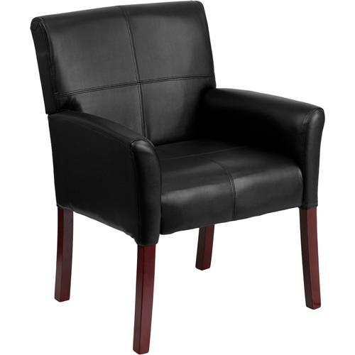 Gallery - Black LeatherSoft Executive Side Reception Chair with Mahogany Legs