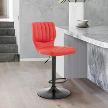 Bardot Adjustable Swivel Bar Stool in Matte Black with Red Faux Leather