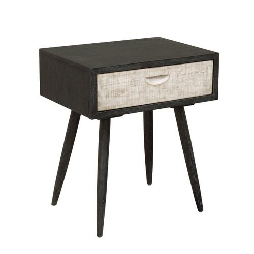 Rustic 1 Drawer Leg Nightstand in Weathered Black and White