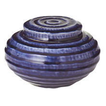 Small Blue Wave Lidded Garden Pot.