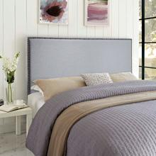 View Product - Region Nailhead Queen Upholstered Headboard in Sky Gray