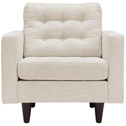 Empress Armchair Upholstered Fabric Set of 2 in Beige