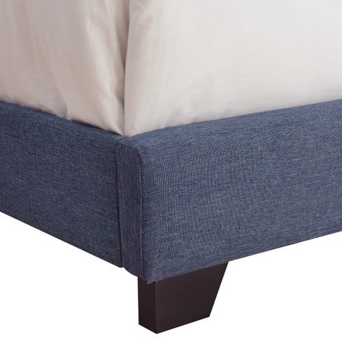 Clipped Corner Upholstered Queen Bed in Heathered Denim Blue