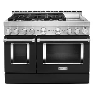 KitchenAid® 48'' Smart Commercial-Style Gas Range with Griddle - Imperial Black Product Image