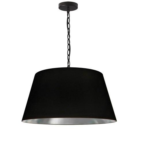 1lt Brynn Medium Pendant, Blk/sv Shade, Black
