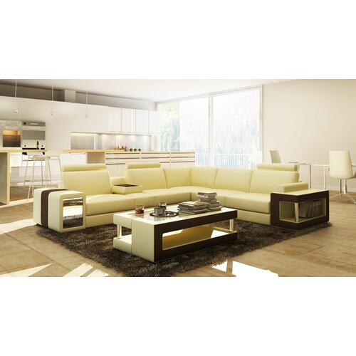 Divani Casa 5080B Beige and Brown Bonded Leather Sectional Sofa w/ Coffee Table