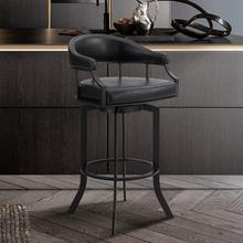 "Edy Swivel 26"" Black Powder Coated and Black Faux Leather Metal Bar Stool"