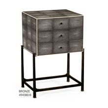 Faux anthracite shagreen high chest with bronze base