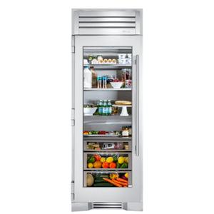 True Residential30 Inch Stainless Glass Door Left Hinge Refrigerator Column