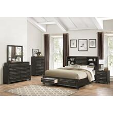 Loiret Antique Grey Finish Wood Bed Room Set, Queen & King Storage Bed, Dresser, Mirror, Night Stand, Chest, King