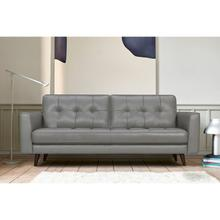 """See Details - Daeson 86"""" Mid-Century Modern Grey Genuine Leather Square Arm Sofa"""