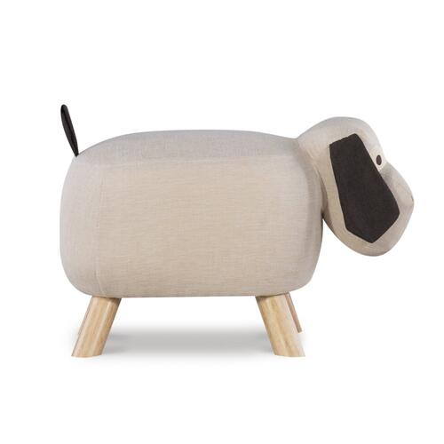 Upholstered Fabric Stool No Storage, Tan and Natural