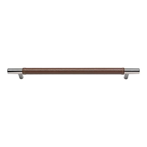 Zanzibar Brown Leather Pull 11 5/16 Inch (c-c) - Polished Chrome