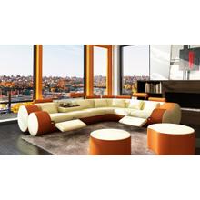 Divani Casa 3087 - Modern Beige and Orange Bonded Leather Sectional Sofa & Coffee Table
